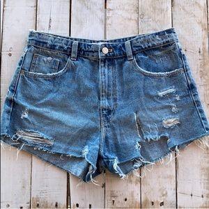 Zara High rise ripped denim shorts NWOT